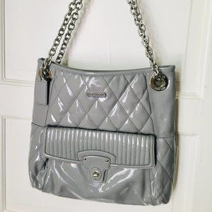 Coach Grey Patent Leather Quilted Tote Bag